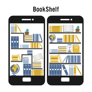 Micro learning concept. Set of book in online library on smart mobile phone and flat icon design vector illustration.