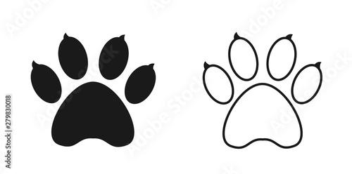Dog paw icon and outline isolated on white background  Dog