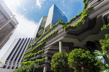 Green nature facade of Parkroyal on Pickering hotel building in Singapore city