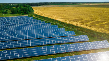 Aerial shot top view of solar panel photovoltaic farm