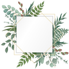 Wedding invitation with eucalyptus leaves, watercolor, isolated on white. Vector Watercolour.