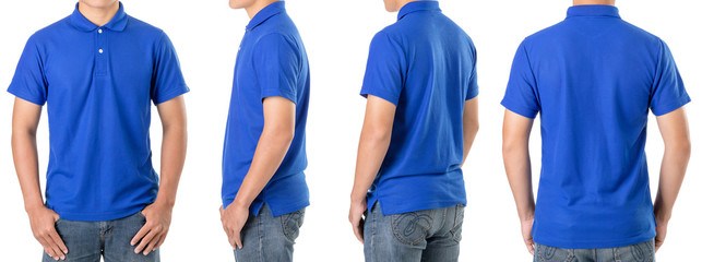 Young Asian man wear blank of blue polo t-shirt