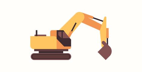heavy excavator yellow loader machine coal mine production professional equipment mining transport concept flat horizontal