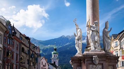 Photograph of the St. Anne's Column on Maria-Theresien-Strasse street; Innsbruck, Austria. Wall mural