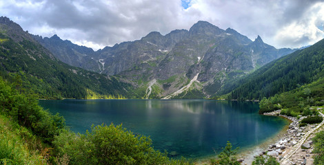 Panoramic landscape of the lake Morske Oko (Sea Eye), Zakopane, Poland, High Tatras Wall mural