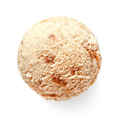 Single caramel ice cream ball or scoop