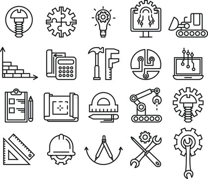 Set of Engineering and manufacturing line icons