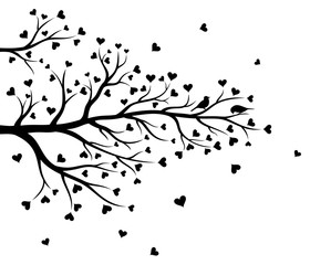 Vector illustration of abstract Valentine tree branch with hearts and couple of birds in black color on white background.
