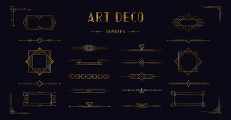 Art deco divider header set. Gold retro artdeco border 1920s decorative ornaments, vector minimal elegant golden frames creative template design for wedding invitation card