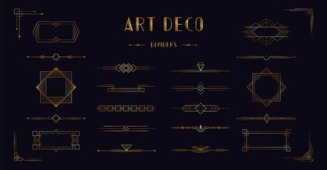 Art deco divider header set. Gold retro artdeco border 1920s decorative ornaments, vector minimal elegant golden frames creative template design for wedding invitation card Wall mural