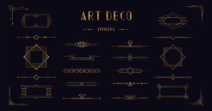 Art deco divider header set. Gold retro artdeco border 1920s decorative ornaments, vector minimal elegant golden frames creative template design for wedding invitation card