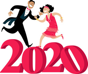 Wall Mural - Cartoon couple dressed in 1920s fashion dancing the Charleston on 2020 number, EPS 8 vector illustration