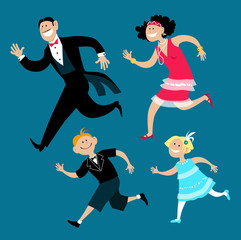 Wall Mural - Family of four dressed in 1920s fashion dancing the Charleston, EPS 8 vector cartoon