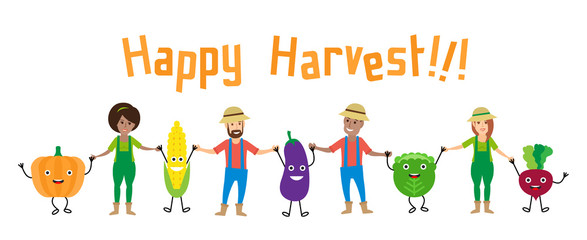 happy harvest. farmers and cartoon vegetables holding hands on white background