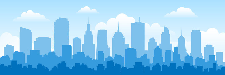 urban panorama cityscape skyline building silhouettes horizontal vector illustration Fotobehang
