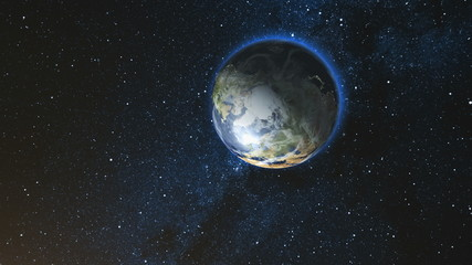 Wall Mural - Realistic Earth Planet, rotating on its axis in space against the background of the star sky. Seamless loop. Astronomy and science concept. Night city lights. Elements of image furnished by NASA