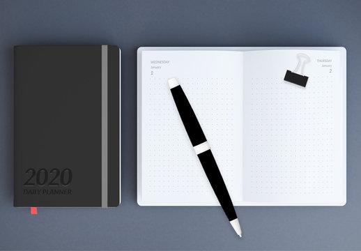 Minimalist Daily Planner Notebook Layout