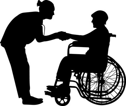 Elderly Care  Vector Silhouette