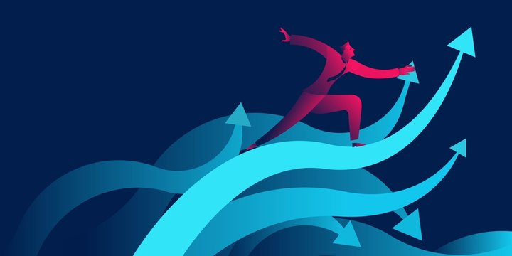 businessman surfing on waves as upward arrow. success, achievement, increase profit, growth business concept in red and blue neon gradients
