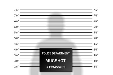 Police lineup or mugshot background with silhouette of  anonymous person. Isolation. Vector illustration