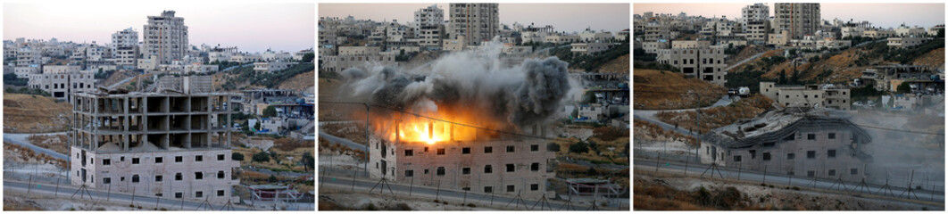 A combination photo shows a Palestinian building blown up by Israeli forces in the village of Sur Baher which sits on either side of the Israeli barrier in East Jerusalem and the Israeli-occupied West Bank