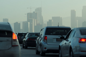Commuters navigate early morning traffic as they drive towards downtown in Los Angeles, California