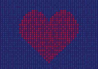 Heart shape made of binary numbers. tech love concept Vector Illustration EPS 10 Fototapete