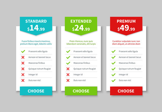 Comparison pricing list. Price plan table, product prices comparative tariff chart. Business infographic option banner vector template