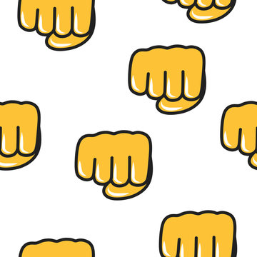 Fisted hand sign emoji seamless pattern. Chat emoticon icon background. Power gesture.