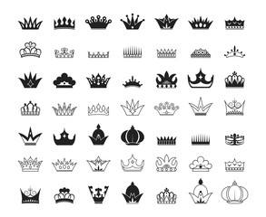 Hand drawn kings and queens crown silhouettes and outlines collection. Imperial diadems. Vintage royal heraldic symbols. Luxury branding elements.