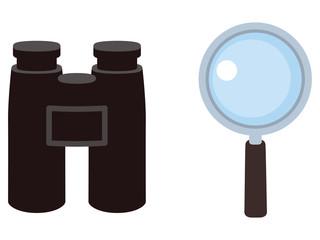 Obraz 双眼鏡と虫眼鏡 - fototapety do salonu