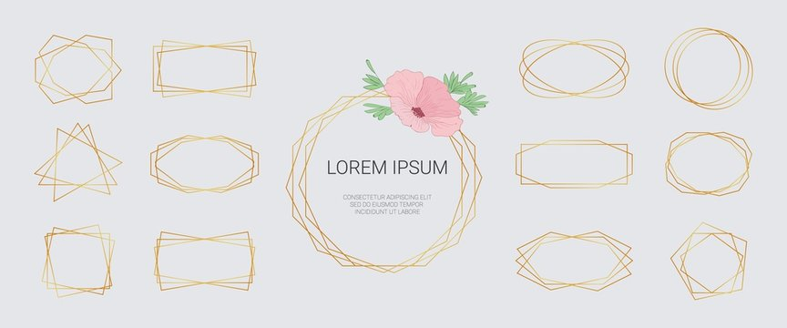 Luxury golden geometrical polyhedron frame. Polygonal gold vector big set in art deco style, modern abstract elements for wedding invitation, luxury templates, decorative patterns