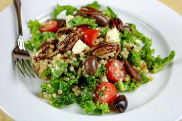Couscous Salad with Kale, Pecans & Feta Cheese