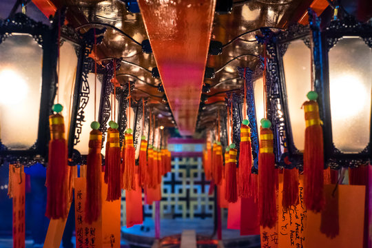 Prayer lanterns at Man Mo Temple, Sheung Wan, Central District, Hong Kong Island, Hong Kong, China
