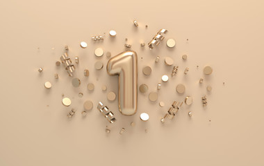 Golden 3d number 1 with festive confetti and spiral ribbons. Poster template for celebrating 1st anniversary event party. 3d render