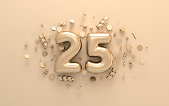 Golden 3d number 25 with festive confetti and spiral ribbons. Poster template for celebrating anniversary event party. 3d render