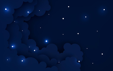 Paper art colorful fluffy clouds background with place for text. Modern 3d render origami paper art style. Night paper sky with shining stars