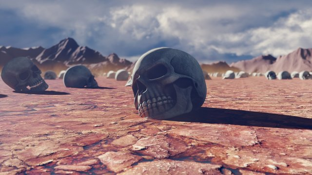 Mystical apocalyptic view, hot sultry desert and skulls on the cracked earth, disturbing sky with storm clouds and mountains in the distance. 3D Rendering
