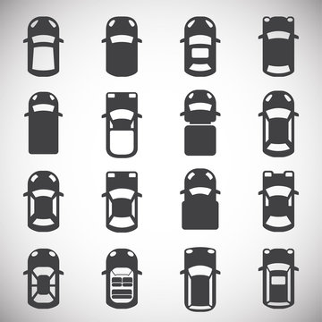 Cars top view icons set on background for graphic and web design. Simple illustration. Internet concept symbol for website button or mobile app.