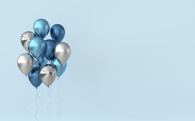 Illustration of glossy blue and silver balloons on pastel colored background. Empty space for birthday, party, promotion social media banners, posters. 3d render realistic balloons