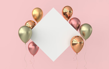 Illustration of glossy rose gold, colorful balloons and white paper on pink background. Empty space for birthday, party, promotion social media banners, posters. 3d render realistic balloons