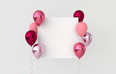 Illustration of glossy pink, red and rose golden balloons on white background. Empty space for birthday, party, promotion social media banners, posters. 3d render realistic balloons