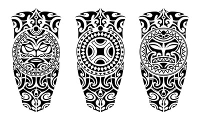 Set of tattoo sketch maori style for leg or shoulder