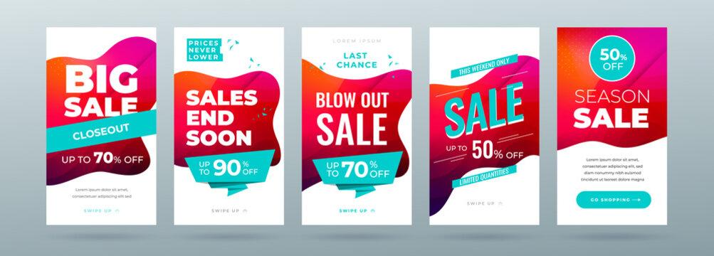 Set of dynamic modern fluid sale banner for social media stories, web page, mobile phone. Sale banner template design special offer set. Eps10 vector.