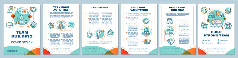 Fototapeta Team building cover design brochure template layout. Partnership, leadership. Team management. Flyer, booklet, leaflet print design with linear icons. Vector page layouts for annual reports, posters obraz