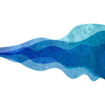 Watercolor transparent wave blue colored background. Watercolour hand painted waves illustration