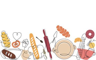Bakery Pattern. Bread Background. Vector illustration.