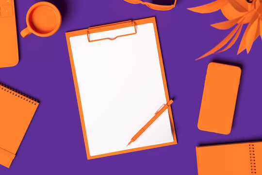 Orange Realistic clipboard with blank paper sheet isolated on violet background. 3d rendering.