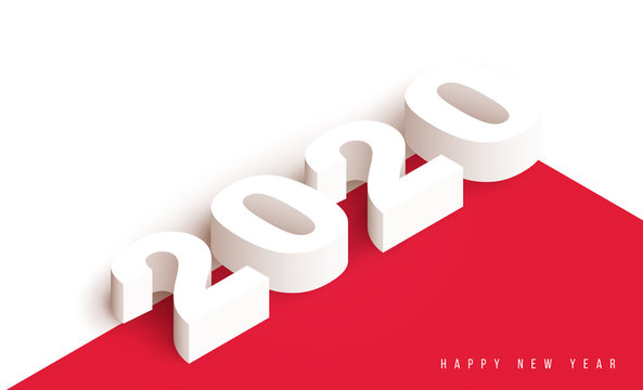 3d realistic vector white number 2020 in isometric view. Happy new year design concept. Minimalistic trendy illustration for branding banner, cover, poster, card.