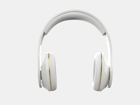 Cool modern wireless white headphones